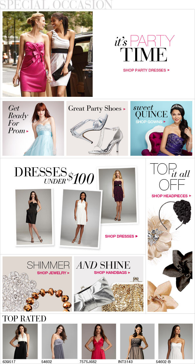 A wide variety of special occasion dresses.