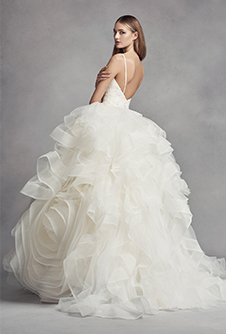 white by vera wang organza rosette wedding dress