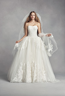 white by vera wang tulle cathedral veil with arched lace appliques
