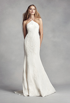 White by vera wang wedding dress collection davids bridal white by vera wang halter sheath wedding dress junglespirit Image collections