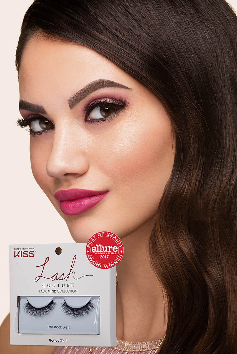 Young woman with long lashes smiling with KISS Lash Couture Faux Mink Collection false lashes