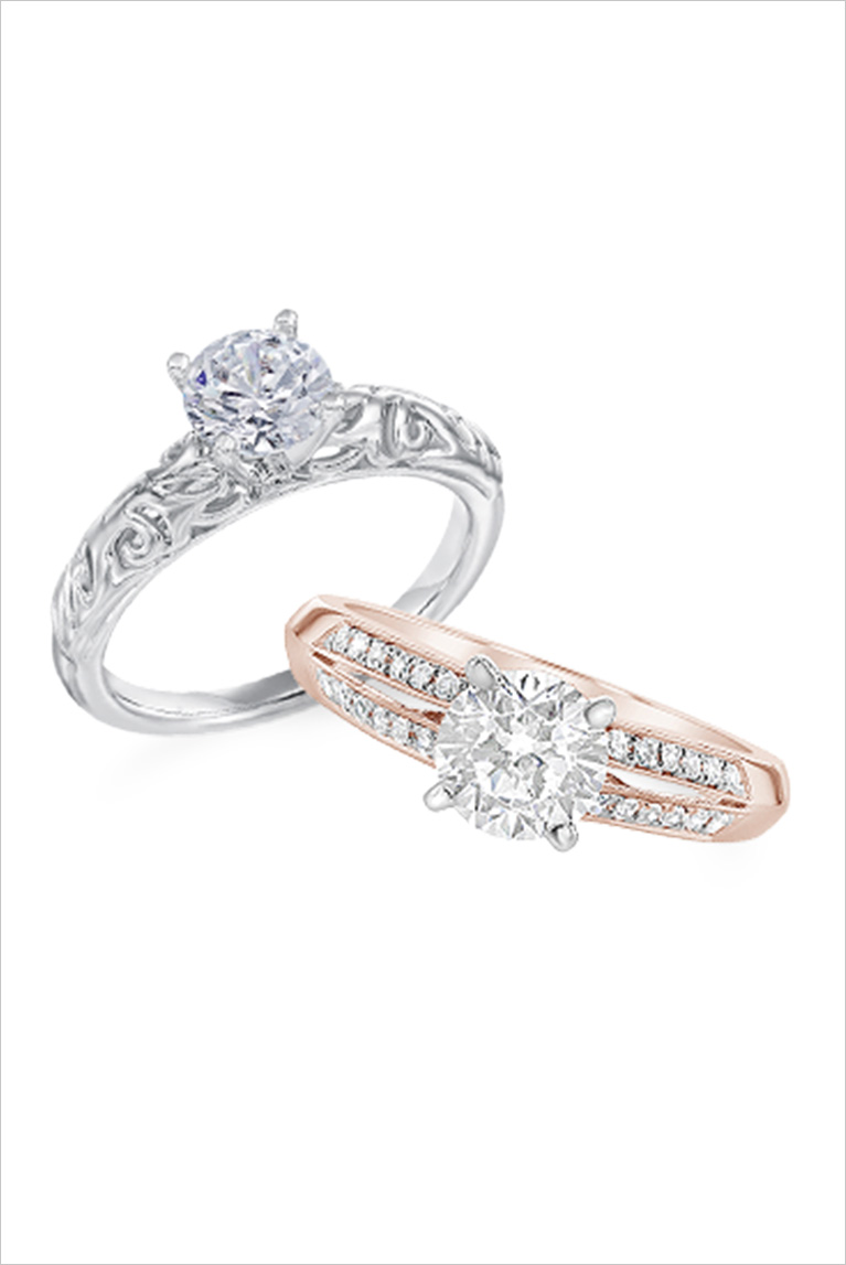 White gold and rose gold engagement rings