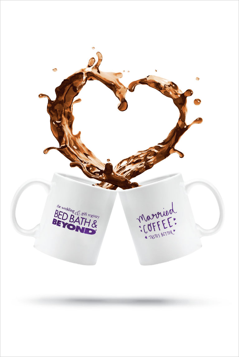 Bed Bath and Beyond mugs with coffee flowing out