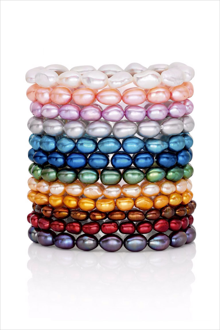 Various colored pearl bracelets