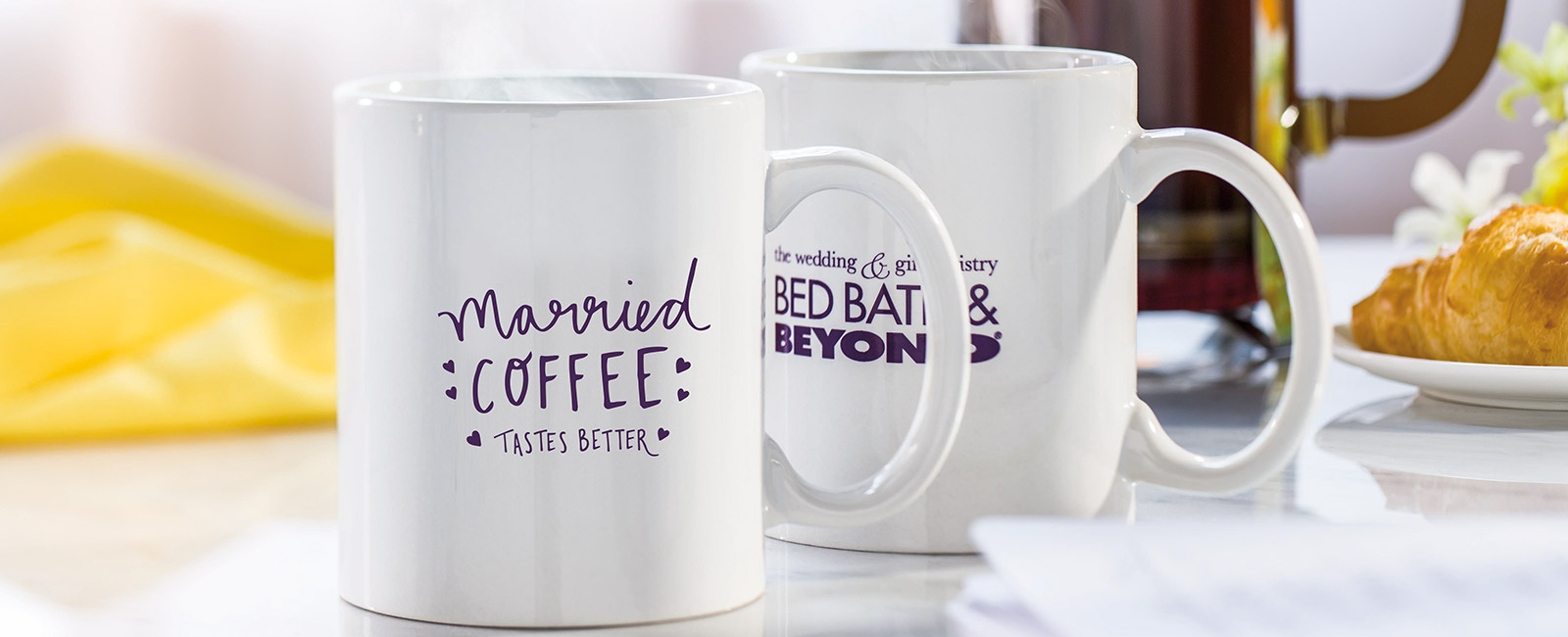 Bed Bath and Beyond mugs on a countertop