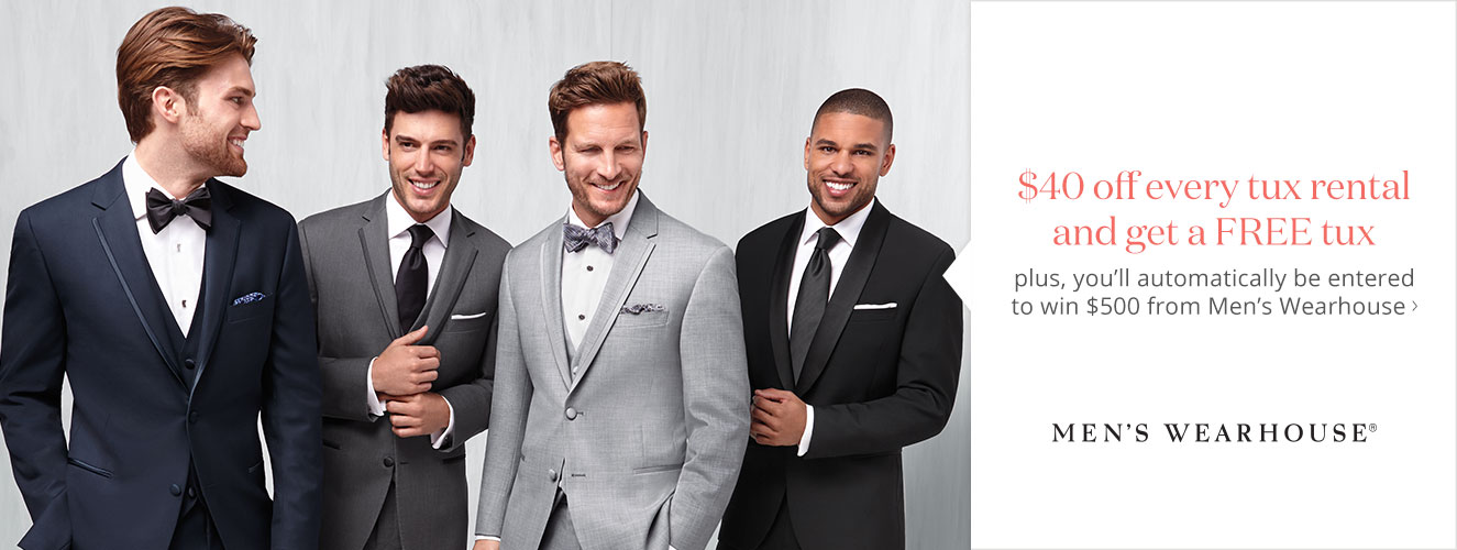 $40 off every tux rental and get a FREE tux - Men's Wearhouse
