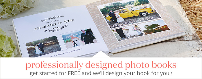 Professionally designed photo books - get started for FREE and we'll design your book for you