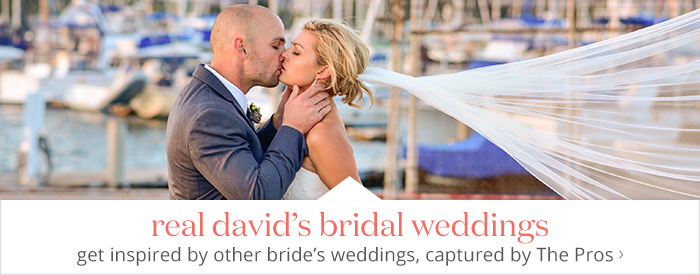 Real David's Bridal weddings - get inspired by other bride's weddings, captured by The Pros