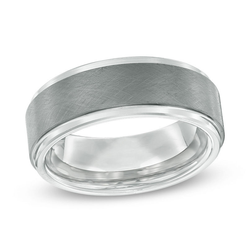 Men's 8.0mm Wedding Band in Two-Tone Tantalum