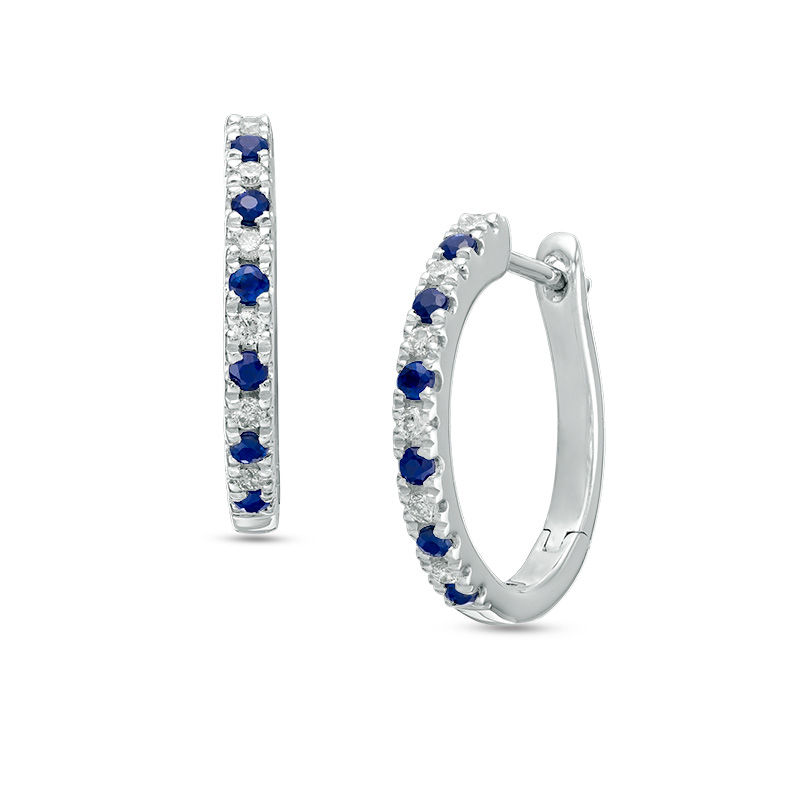 Vera Wang Love Collection 1/8 CT. T.W. Diamond and Blue Sapphire Alternating Hoop Earrings in Sterling Silver