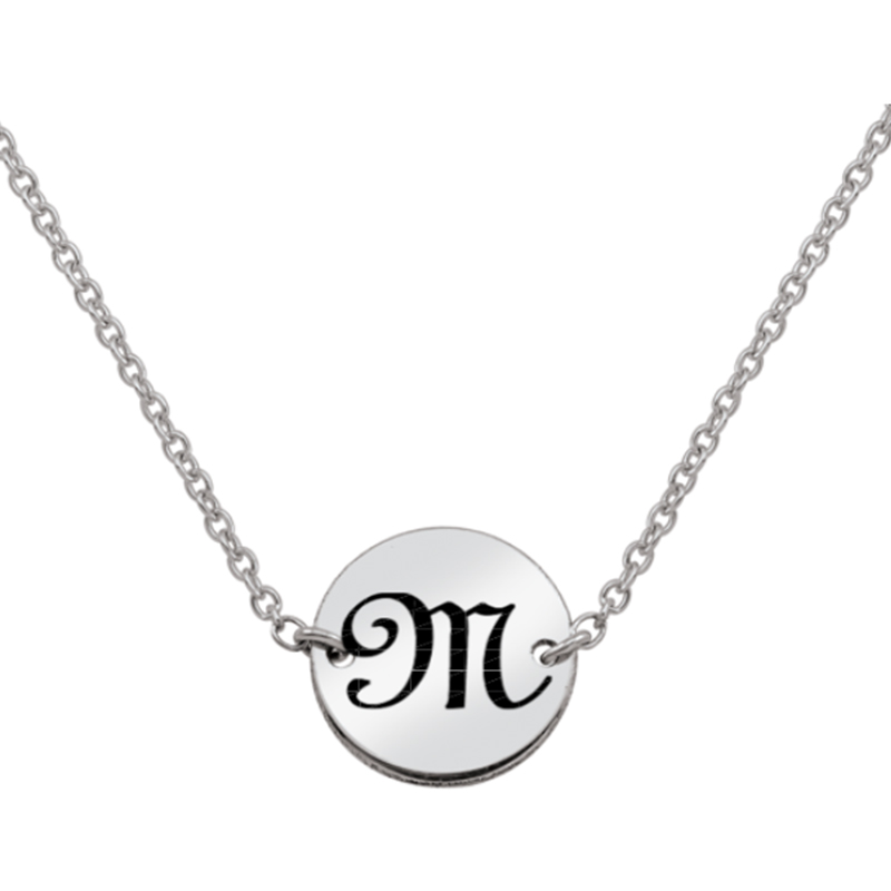 Engravable Initial Disc Choker Necklace (1 Initial) - 14""