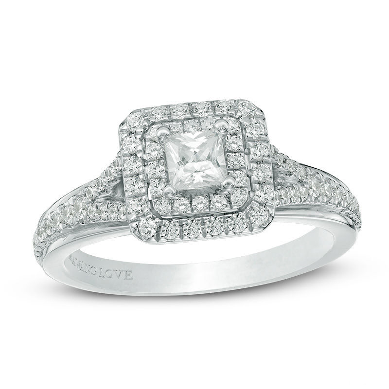 Vera Wang Love Collection 5/8 CT. T.W. Princess-Cut Diamond Double Frame Engagement Ring in 14K White Gold