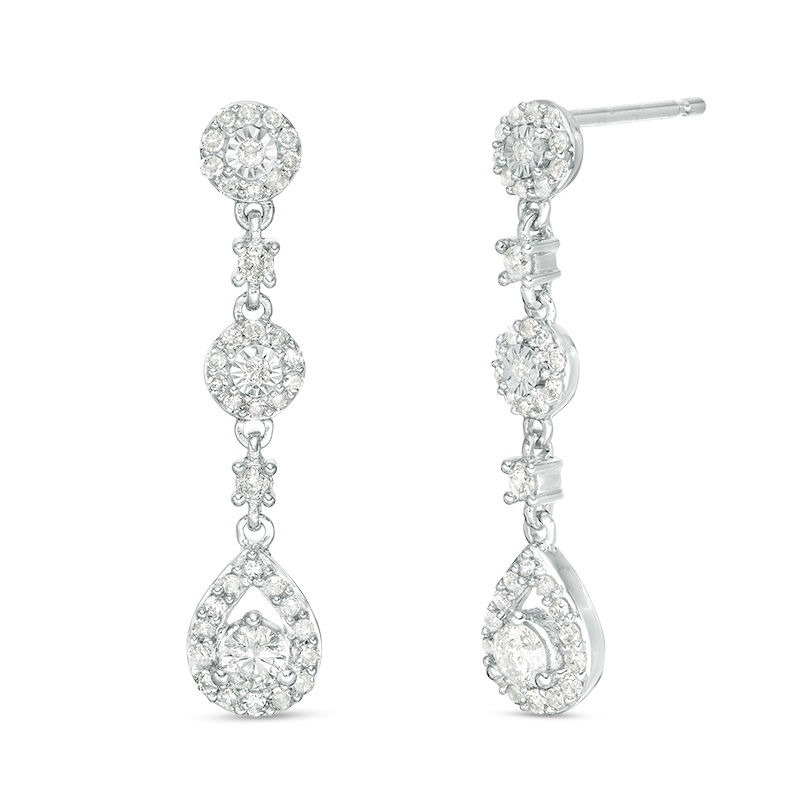 1/2 CT. T.W. Diamond Pear-Shaped Frame Triple Drop Earrings in 10K White Gold