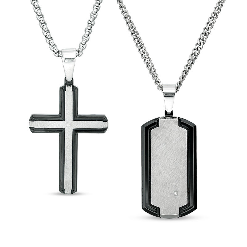 Men's Diamond Accent Dog Tag and Cross Pendant Set in Stainless Steel and Black IP - 20