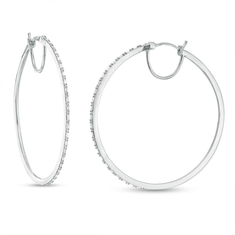 1/2 CT. T.W. Baguette and Round Diamond Alternating Hoop Earrings in 10K White Gold