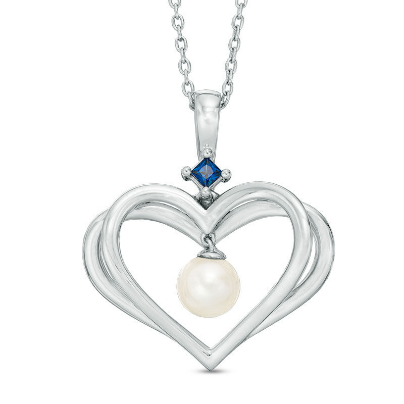 The Kindred Heart from Vera Wang Love Collection Cultured Freshwater Pearl and Sapphire Pendant in Sterling Silver - 19""