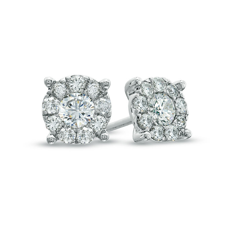 1 CT. T.W. Diamond Frame Stud Earrings in 14K White Gold