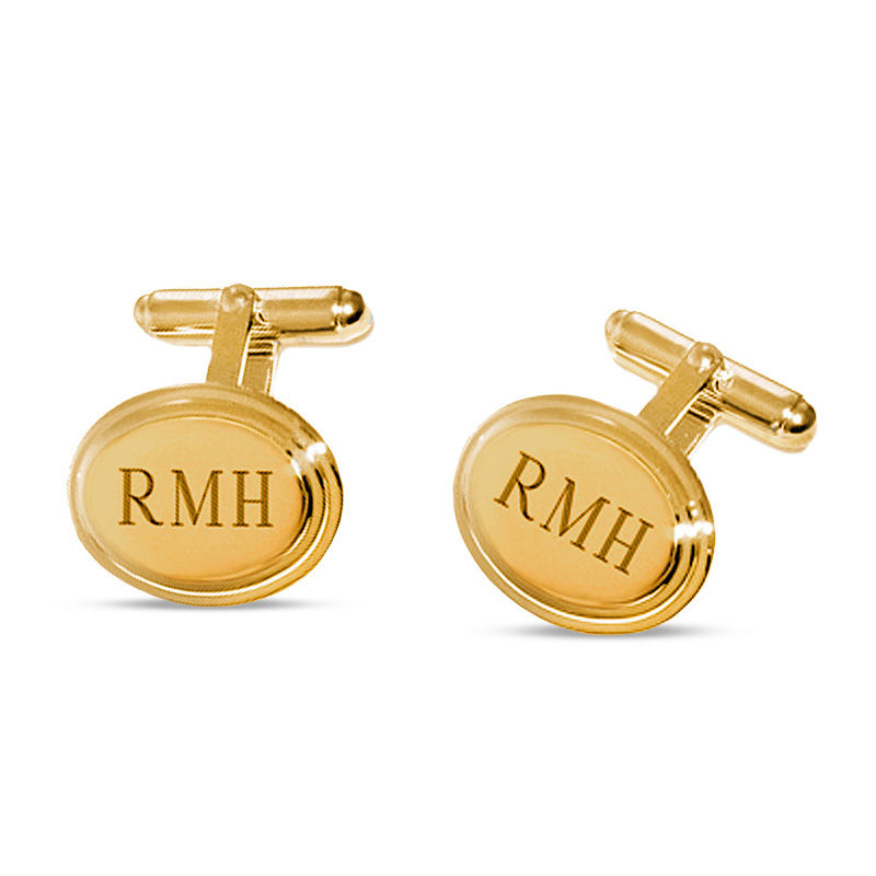 Men's Oval Cuff Links in Brass with 18K Gold Electroplate (3 Initials)