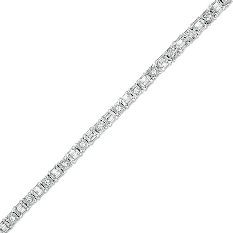 1 CT. T.W. Baguette and Round Diamond Tennis Bracelet in 10K White Gold