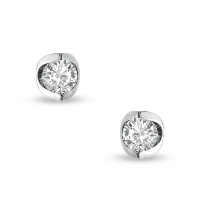 3/8 CT. T.W. Certified Canadian Diamond Stud Earrings in 14K White Gold (I/I2)