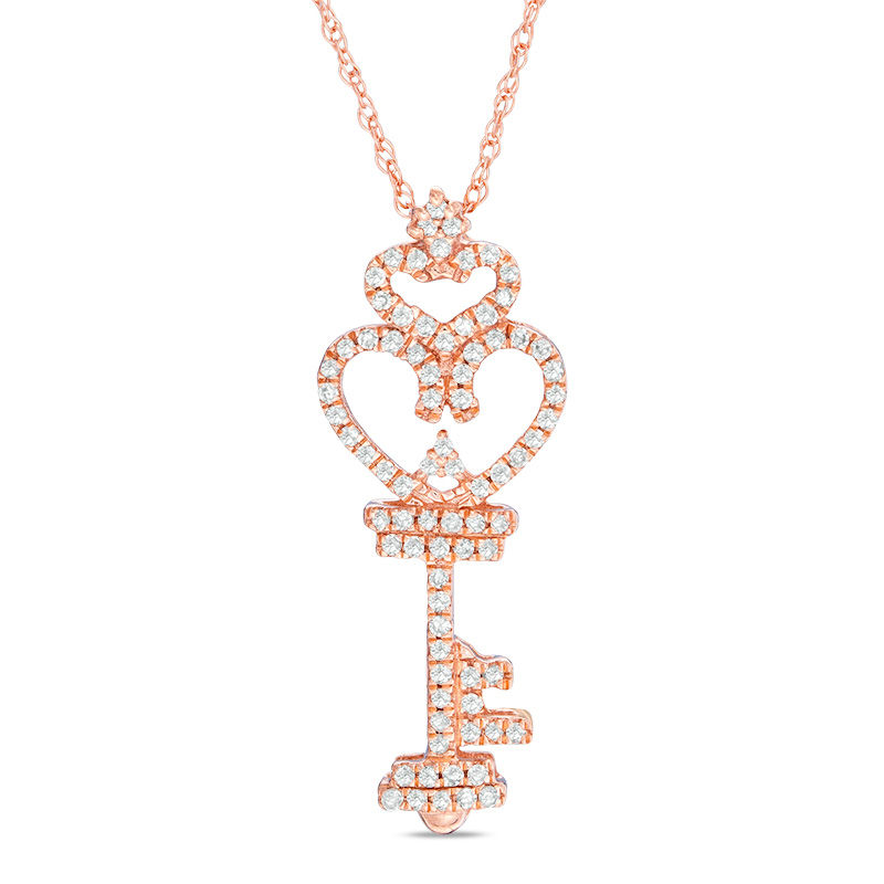 1/6 CT. T.W. Diamond Heart-Top Key Pendant in 10K Rose Gold