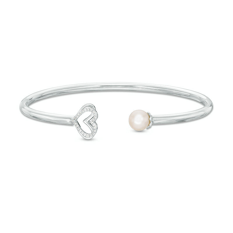 The Kindred Heart from Vera Wang Love Collection Cultured Freshwater Pearl and Diamond Bangle in Sterling Silver - 7.5""