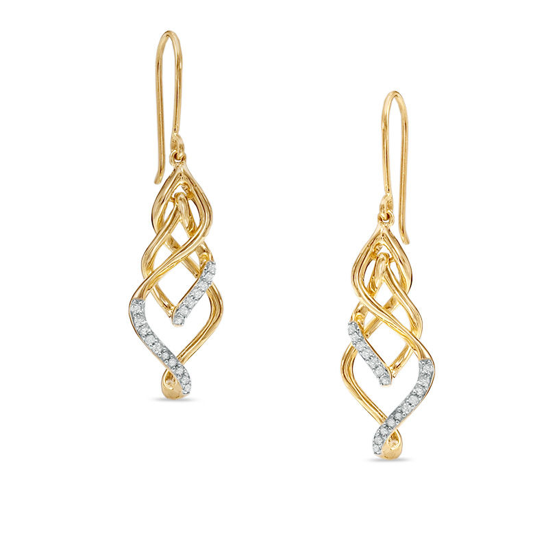 1/5 CT. T.W. Diamond Twisted Vine Drop Earring in 10K Gold