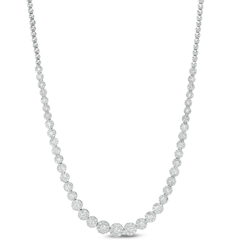 4 CT. T.W. Composite Diamond Cluster Necklace in 10K White Gold