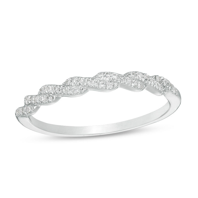 1/10 CT. T.W. Diamond Twist Anniversary Band in 10K White Gold