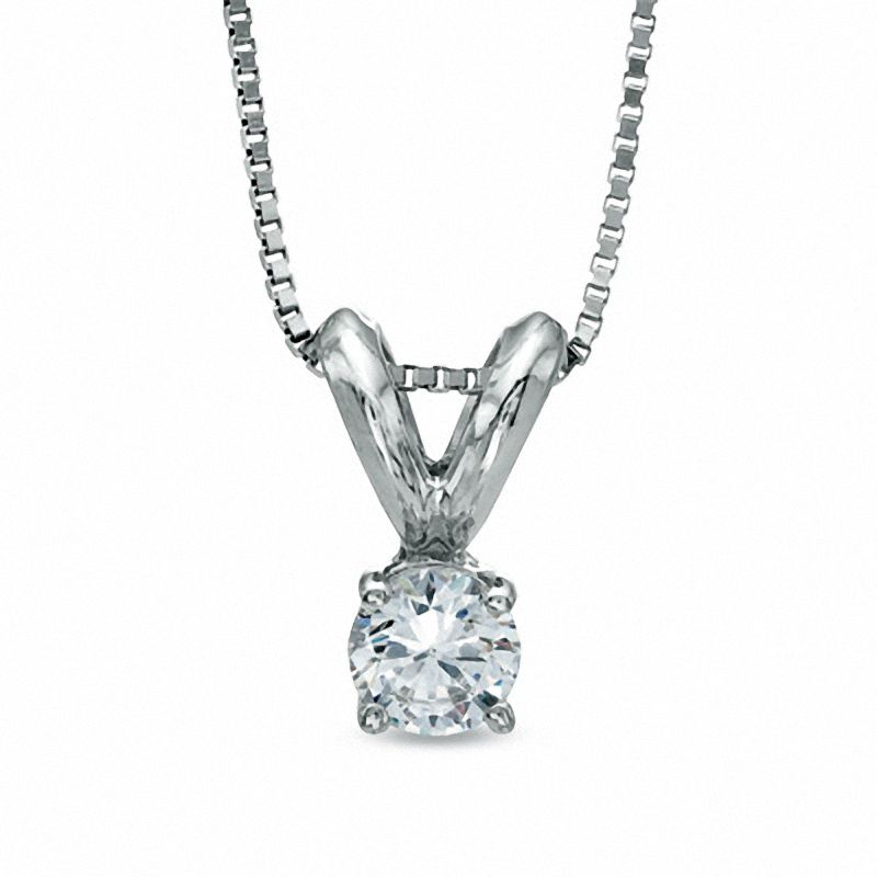 1/7 CT. Diamond Solitaire Pendant in 10K White Gold