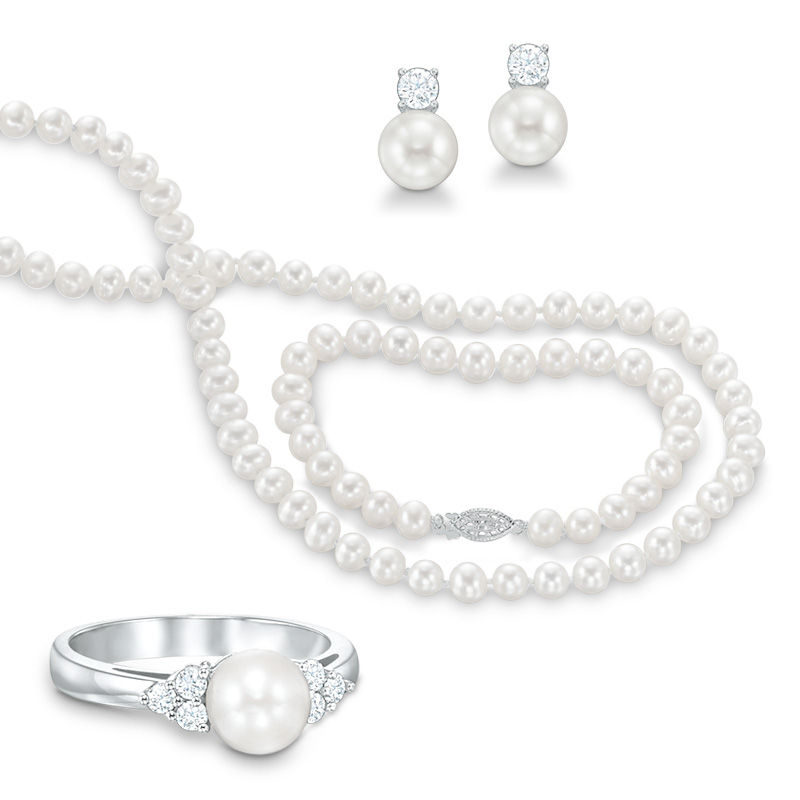 6.5 - 7.0mm Cultured Freshwater Pearl and Lab-Created White Sapphire Necklace, Bracelet, Ring and Earrings Set