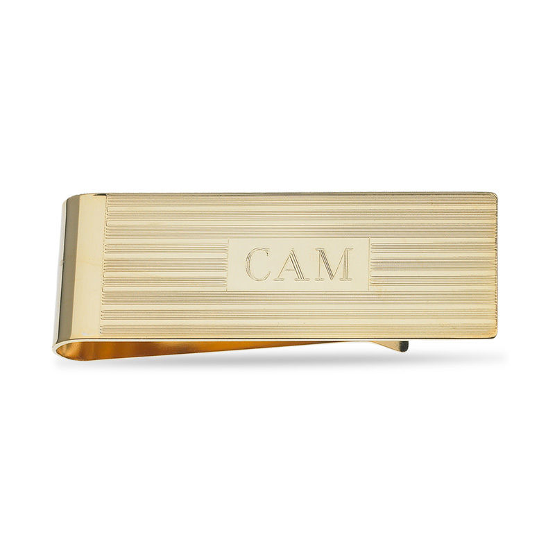 Men's Striped Money Clip in Brass with 18K Gold Electroplate (3 Initials)