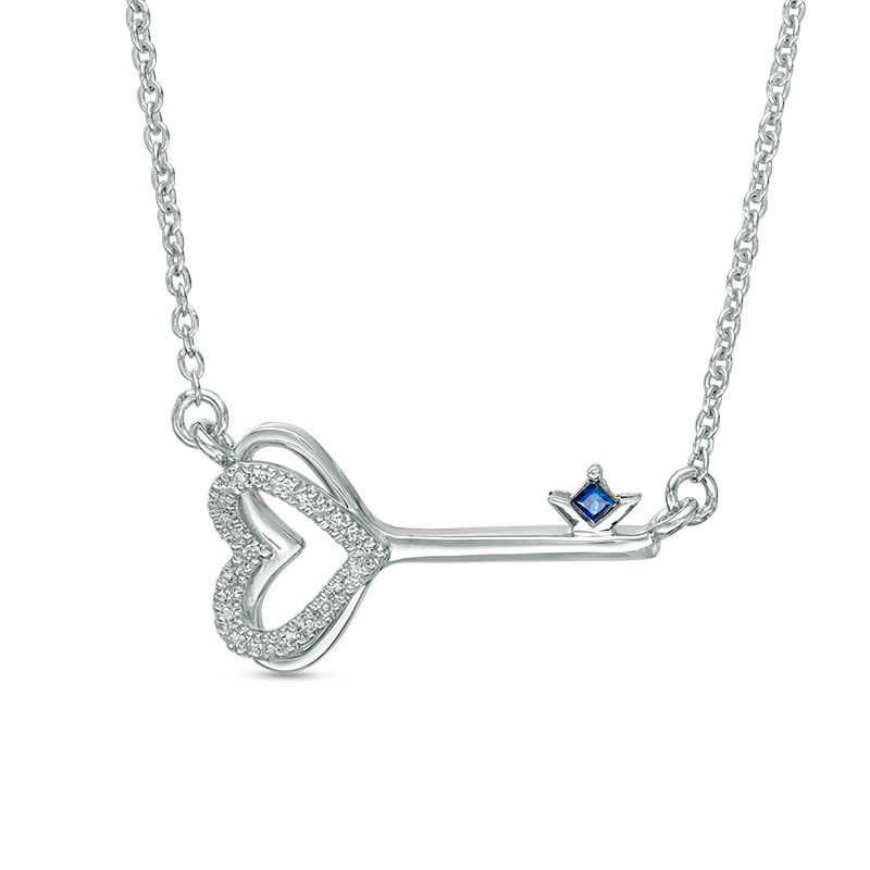Vera Wang Love Collection 1/20 CT. T.W. Diamond and Blue Sapphire Heart-Top Key Necklace in Sterling Silver - 19""