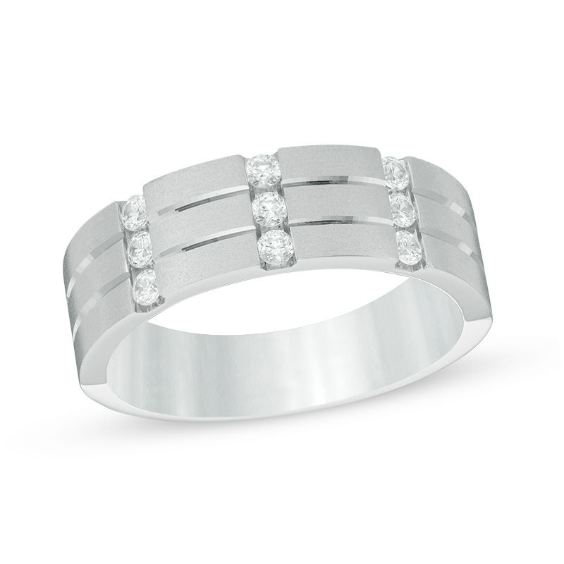 Men's 1/3 CT. T.W. Diamond Nine Stone Anniversary Band in 10K White Gold