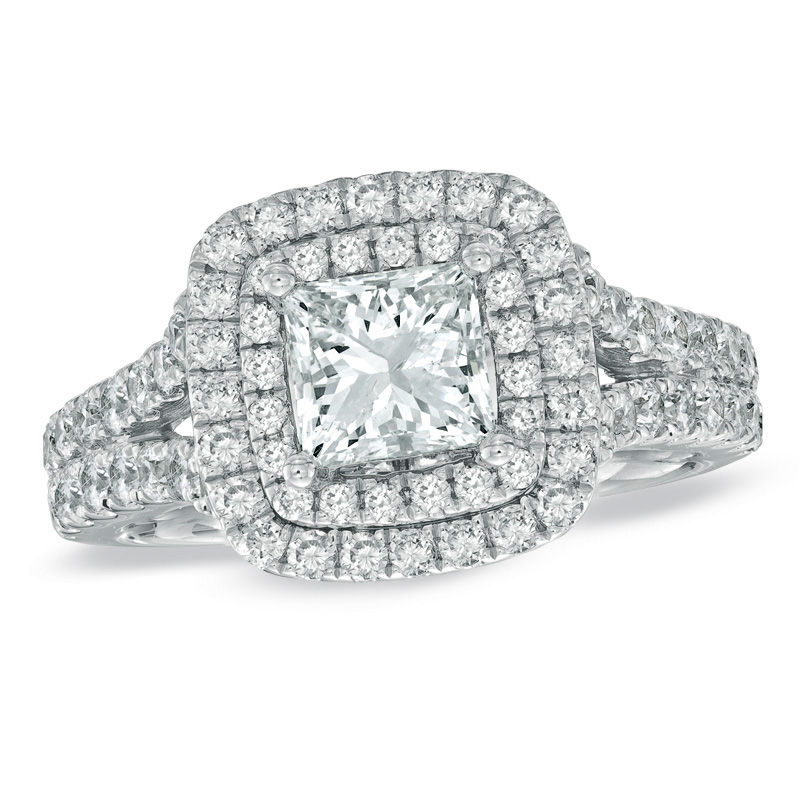 Vera Wang Love Collection 2-1/5 CT. T.W. Princess-Cut Diamond Frame Split Shank Engagement Ring in 14K White Gold
