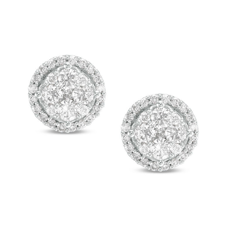 1 CT. T.W. Composite Diamond Frame Stud Earrings in 10K White Gold
