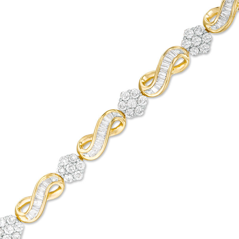2 CT. T.W. Baguette and Round Composite Diamond Infinity Link Bracelet in 10K Gold - 7.25""
