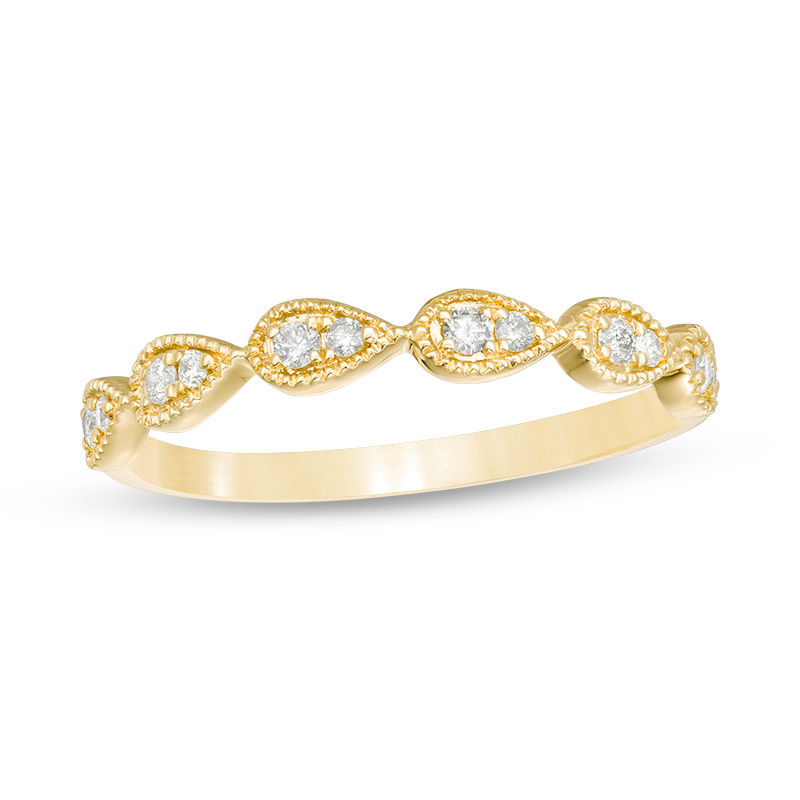 1/8 CT. T.W. Diamond Teardrop Vintage-Style Stackable Band in 10K Gold