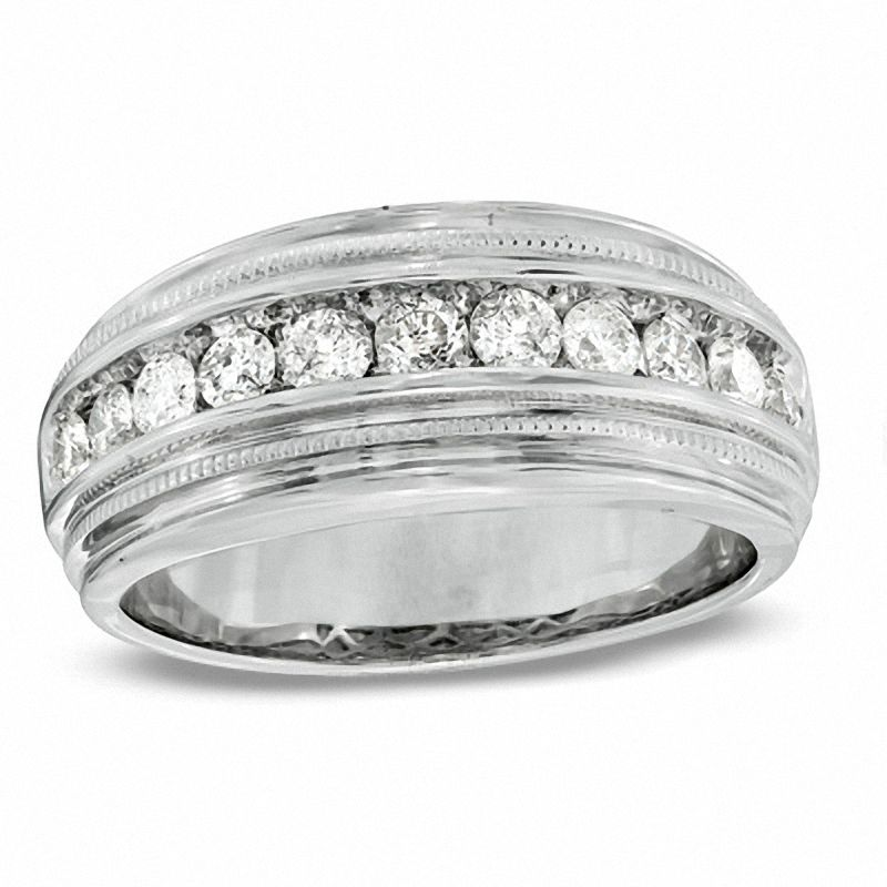 Men's 1 CT. T.W. Diamond Milgrain Band in 14K White Gold