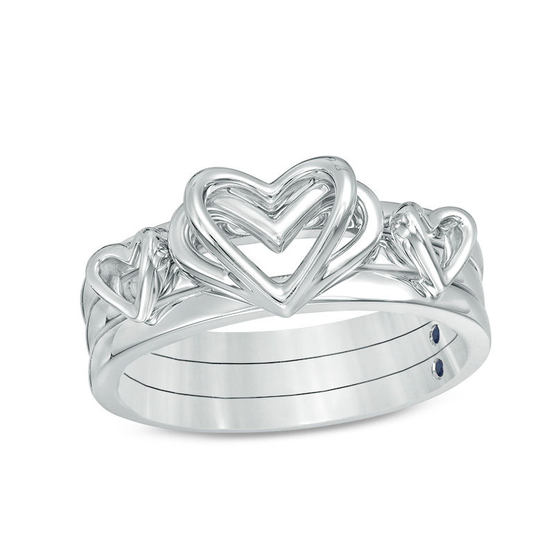 The Kindred Heart from Vera Wang Love Collection Blue Sapphire Stackable Ring Set in Sterling Silver - Size 6.5