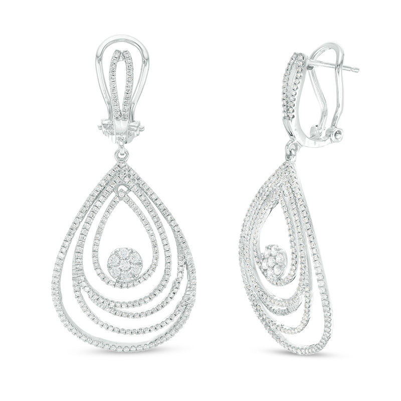 1 CT. T.W. Diamond Layered Teardrop Earrings in 10K White Gold