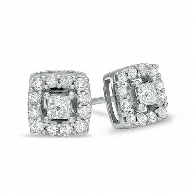 Princess cut diamond frame stud earrings