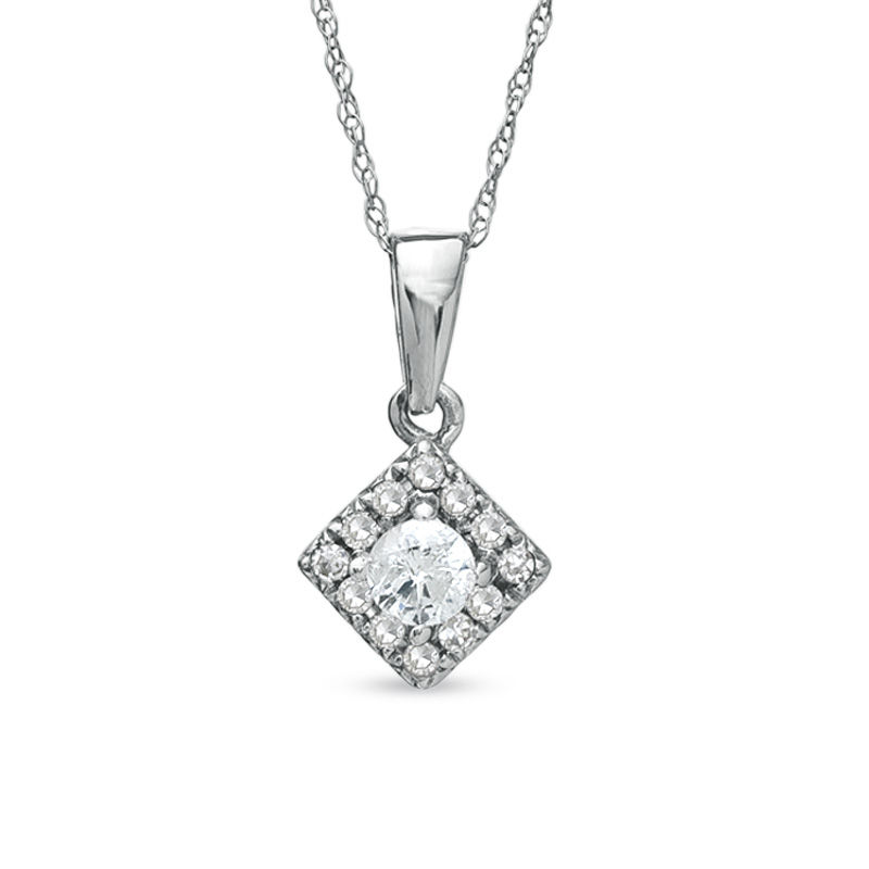 1/4 CT. T.W. Diamond Square Frame Pendant in 10K White Gold