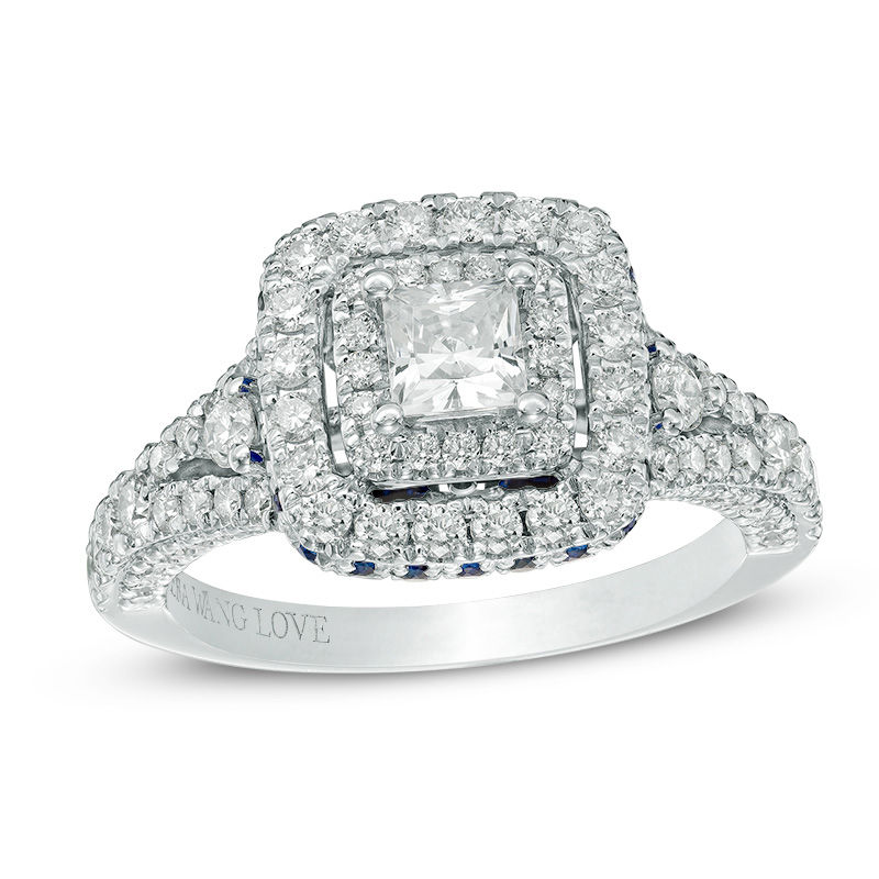 Vera Wang Love Collection 1-1/3 CT. T.W. Princess-Cut Diamond and Sapphire Frame Engagement Ring in 14K White Gold
