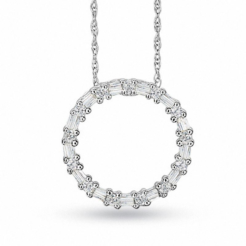 1/5 CT. T.W. Diamond Circle Pendant in 10K White Gold