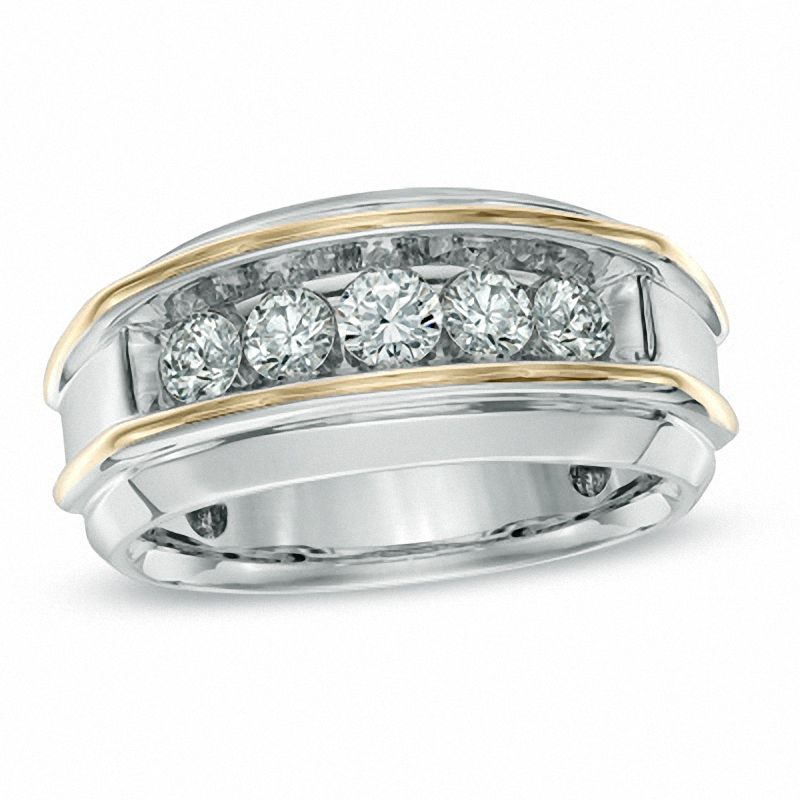 Men's 1 CT. T.W. Diamond Five Stone Band in 10K Two-Tone Gold