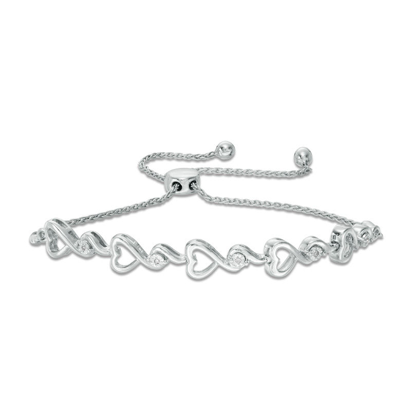 Diamond Accent Heart Bolo Bracelet in Sterling Silver - 9.5""