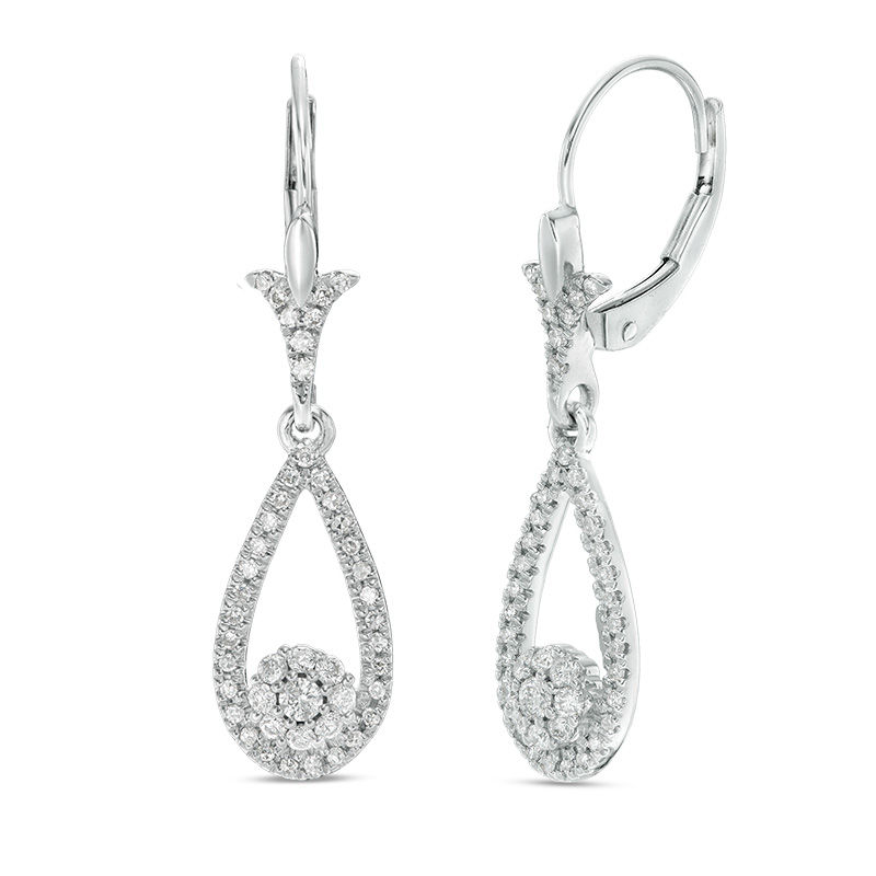 1/2 CT. T.W. Diamond Flower Teardrop Earrings in 10K White Gold