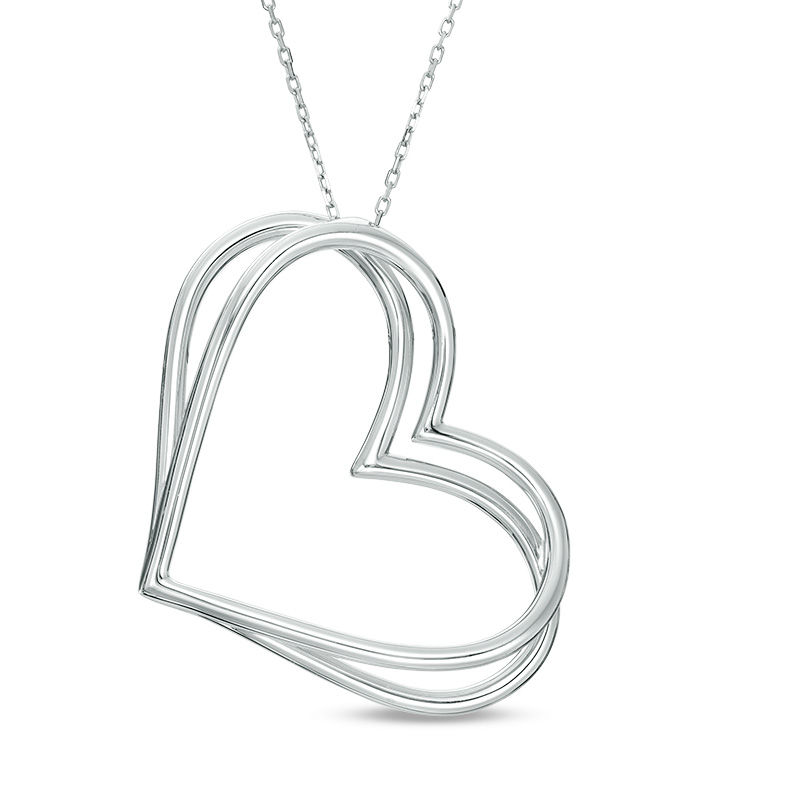 The Kindred Heart from Vera Wang Love Collection Tilted Pendant in Sterling Silver - 19