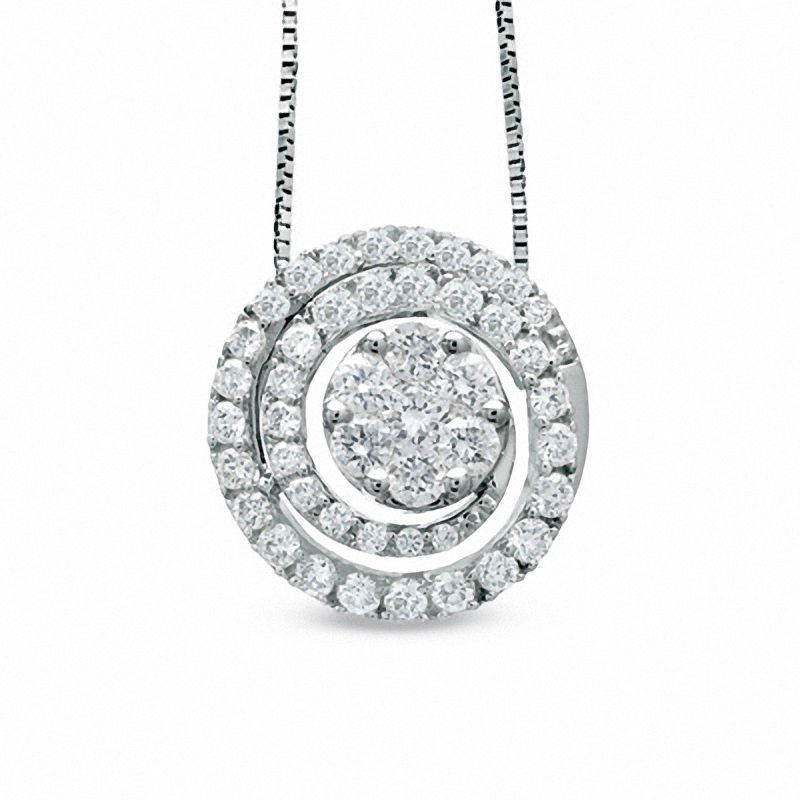3/4 CT. T.W. Diamond Swirl Flower Pendant in 14K White Gold